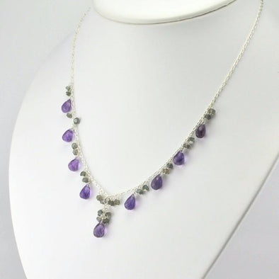 Sterling Silver Amethyst Briolette and Labradorite Necklace