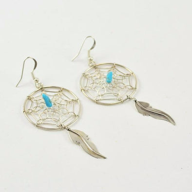 Sterling Silver Extra Large Turquoise Dreamcatcher Dangle Earrings