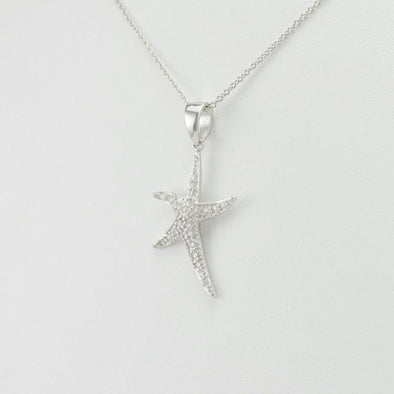 Sterling Silver Cubic Zirconia Starfish Necklace
