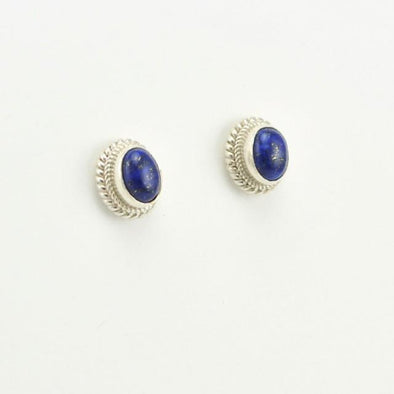Sterling Silver Lapis 8x6mm Oval Post Earrings