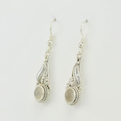 Sterling Silver Moonstone Long Dangle Earrings