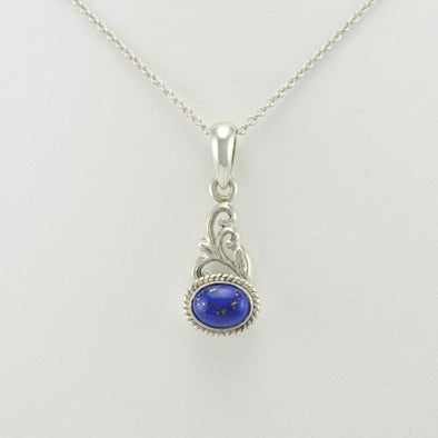 Sterling Silver Lapis 6x8mm Oval Pendant