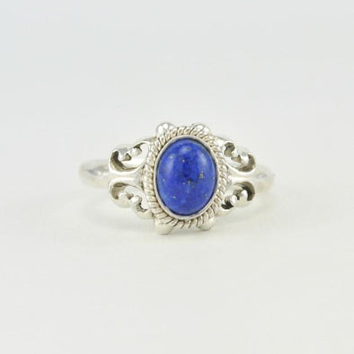 Sterling Silver Lapis Oval Ring Size 8