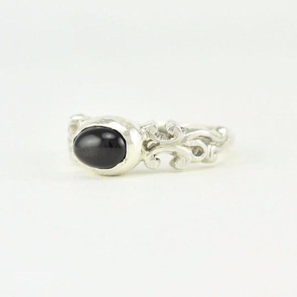 Sterling Silver Black Star Diopside Oval Ring Size 6