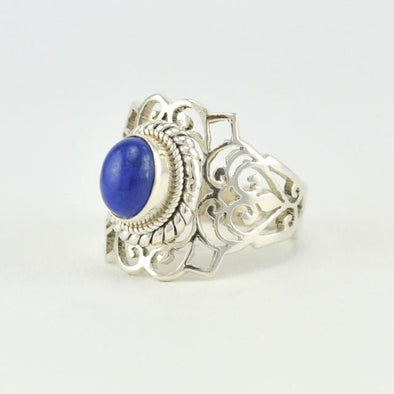 [5784] sterling silver lapis 6x8mm oval wide filigree ring size 8