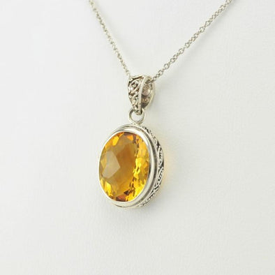 Sterling Silver Citrine Oval Bali Pendant