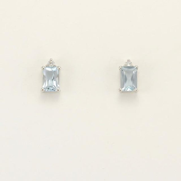 Sterling Silver Aquamarine 1ct Cubic Zirconia Post Earrings