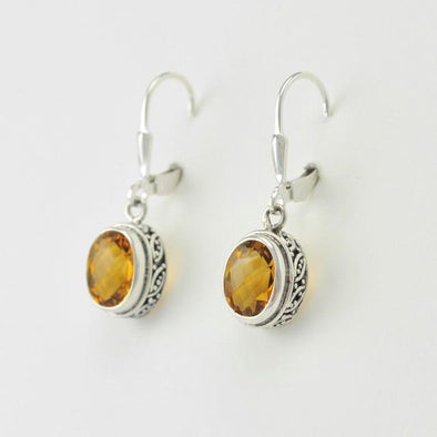 Sterling Silver Citrine Oval Bali Dangle Earrings