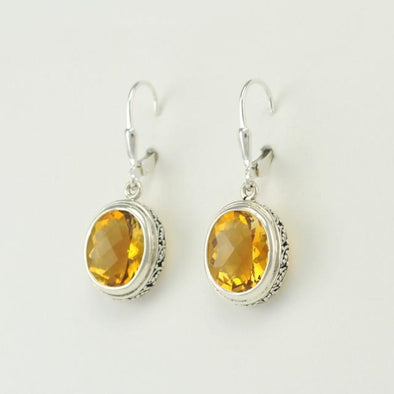 Sterling Silver Citrine Oval Dangle Earrings