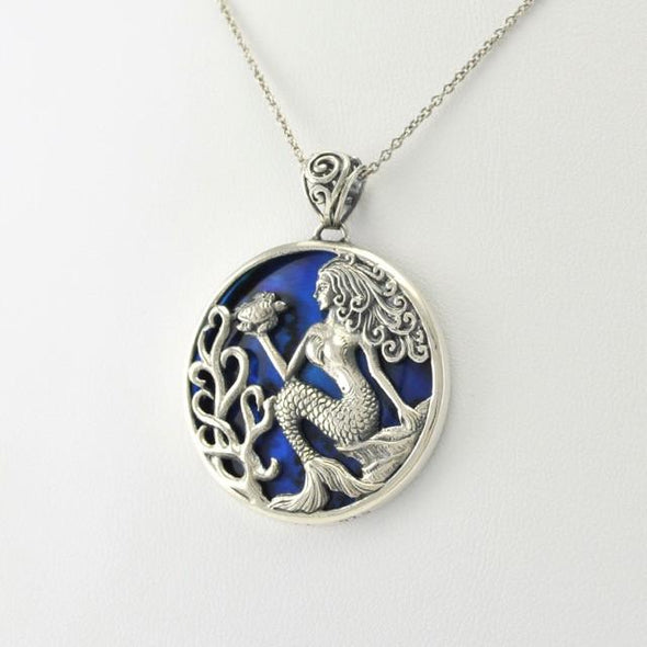 Sterling Silver Blue Abalone Mermaid Pendant