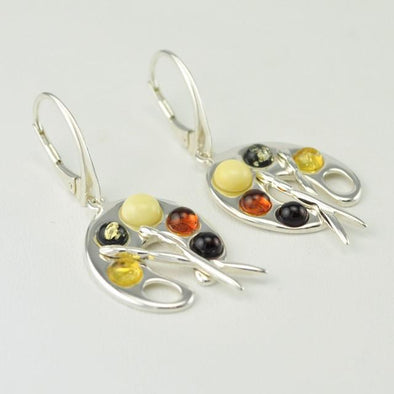 Sterling Silver Baltic Amber Artist's Pallet Earrings