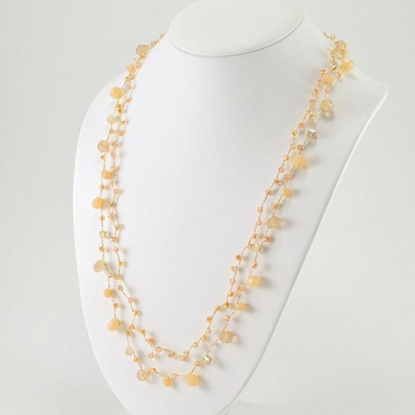 Japanese Silk Double Strand Peach Pearl Crystal Necklace