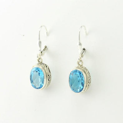 Sterling Silver Blue Topaz Oval Bali Earrings