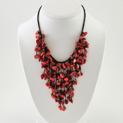 Bamboo Coral Cascading Necklace
