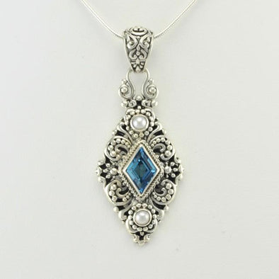 Sterling Silver Blue Topaz and Pearl Diamond Pendant