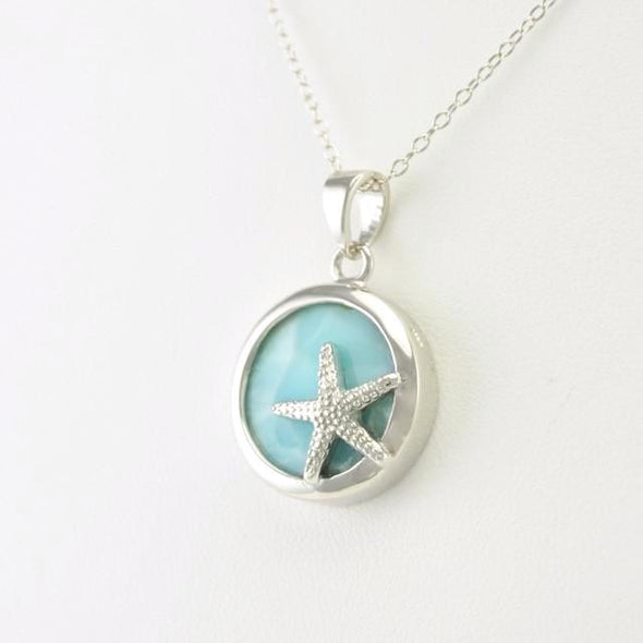 Silver Larimar Starfish Necklace
