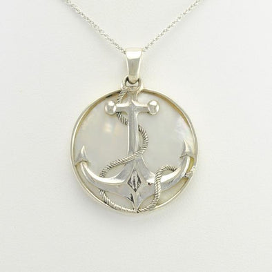 Sterling Silver Mother of Pearl Anchor Pendant