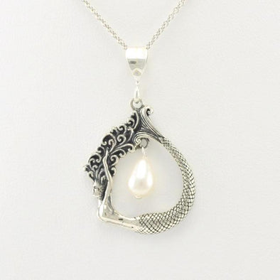 Sterling Silver Mermaid Pearl Necklace