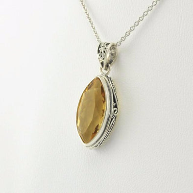 Sterling Silver Citrine Marquise Bali Pendant