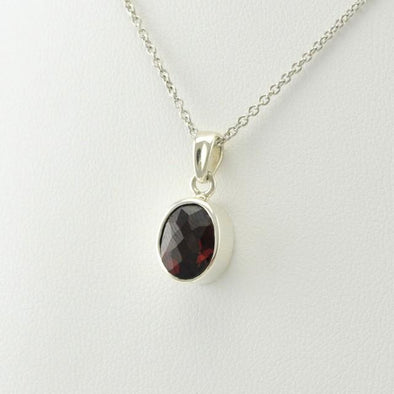 Sterling Silver Garnet 7x9mm Oval Necklace