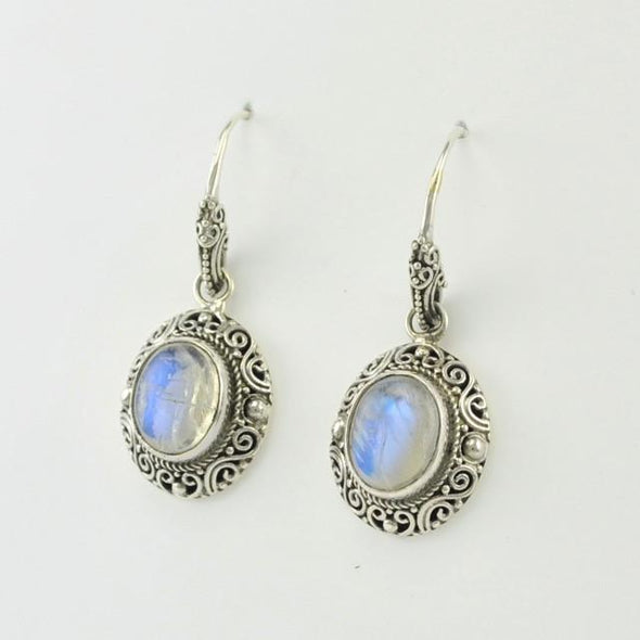 Sterling Silver Moonstone Oval Bali Dangle Earrings