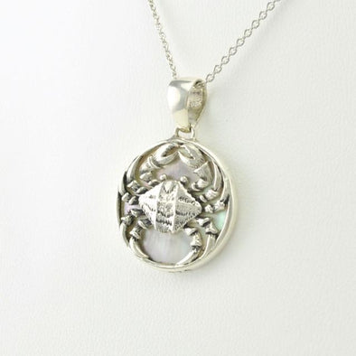 Sterling Silver Mother of Pearl Crab Pendant