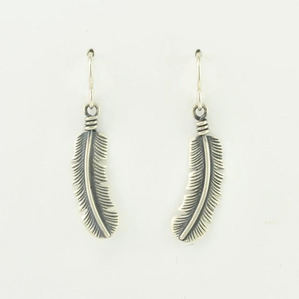 Brushed Sterling Silver Feather Dangle Earrings