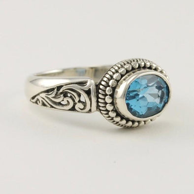 Sterling Silver Blue Topaz Bali Ring Size 8