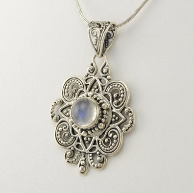 Sterling Silver Moonstone Bali Pendant