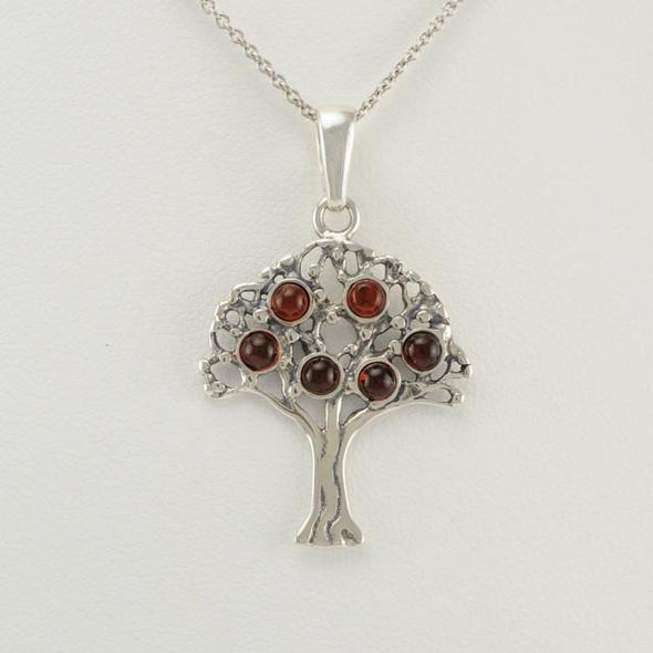 Sterling Silver Baltic Amber Tree of Life Necklace