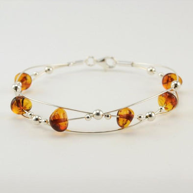 Sterling Silver Baltic Amber Braided Bangle Bracelet