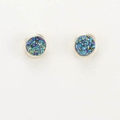 Sterling Silver Peacock Druzy Agate Post Earrings