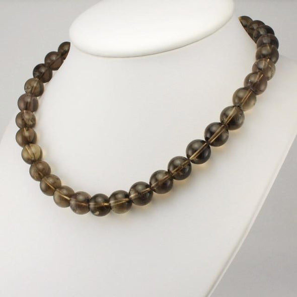 Sterling Silver Smoky Quartz Round Bead Necklace