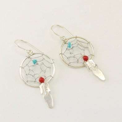 Sterling Silver Coral Turquoise Dreamcatcher Earrings