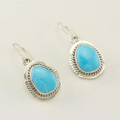 Sterling Silver Sleeping Beauty Turquoise Navajo Earrings