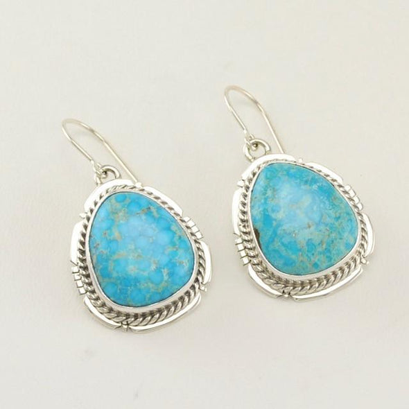 Sterling Silver Turquoise Mountain Dangle Earrings