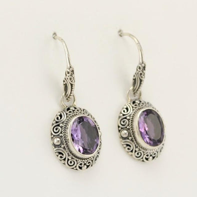 Sterling Silver Amethyst Oval Scroll Dangle Earrings