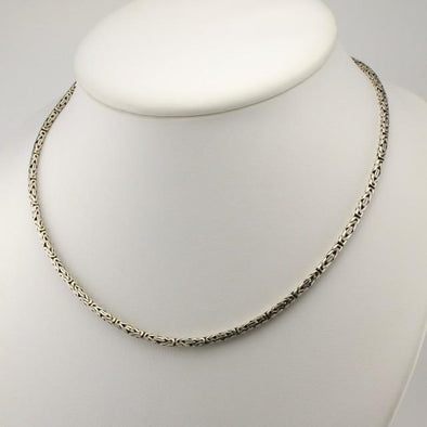 Handmade Sterling Silver Byzantine 16 Inch Chain with Extender