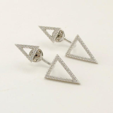 Sterling Silver Cubic Zirconia 2 Triangle Earrings