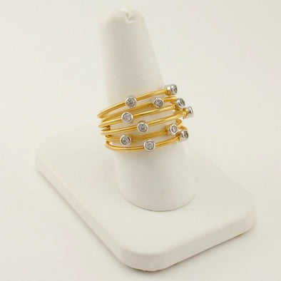 Sterling Silver and Vermeil Cubic Zirconia Ring Size 8