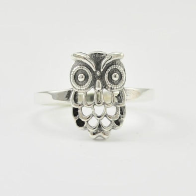 Sterling Silver Owl Ring Size 8