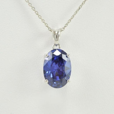 Sterling Silver Created Tanzanite 10x14mm Oval Pendant