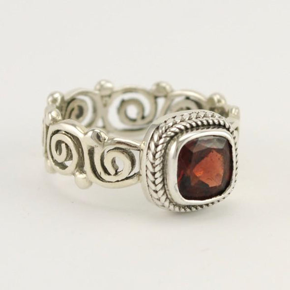 Sterling Silver Garnet Square Scroll Band Ring Size 8