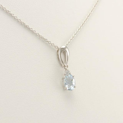 Sterling Silver Aquamarine .9ct Oval Cubic Zirconia Necklace