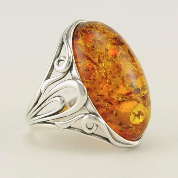Sterling Silver Baltic Amber Long Oval Ring Size 7