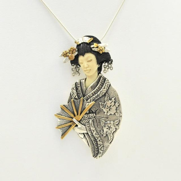 Sterling Silver Fossil Ivory Fan Lady Pin/Pendant