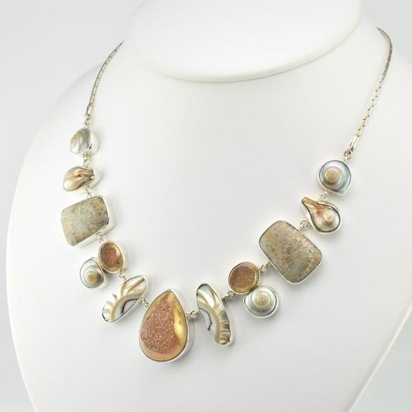 Sterling Silver Druzy Agate, Shell, Pearl and Fossil Coral Necklace