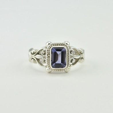 [5473] sterling silver iolite 5x7mm rectangle ring size 6