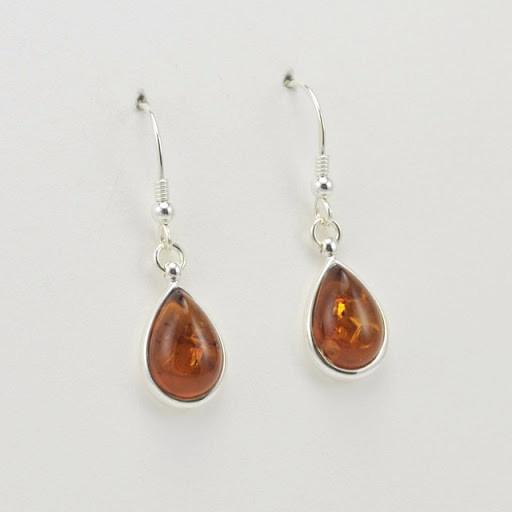 Sterling Silver Baltic Amber Teardrop Dangle Earrings