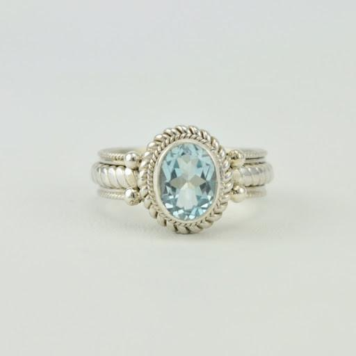 Sterling Silver Blue Topaz Oval Ring Size 6